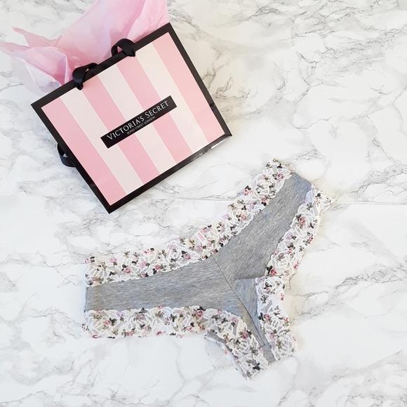 Victoria's Secret Pink Bright Blue Lace Trim Dog Love Pink Cheeky panty M